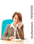 young businesswoman talking on...   Shutterstock . vector #74507050