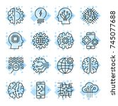 icon set for artificial... | Shutterstock .eps vector #745077688
