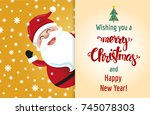 cute cartoon style santa claus. ... | Shutterstock .eps vector #745078303