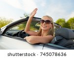 travel  road trip and people... | Shutterstock . vector #745078636