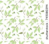 seamless green leaves pattern... | Shutterstock .eps vector #745080394