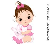 vector cute baby girl with toy... | Shutterstock .eps vector #745080640