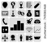 set of 22 business high quality ... | Shutterstock .eps vector #745081468