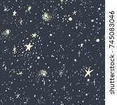 seamless pattern with starry... | Shutterstock .eps vector #745083046