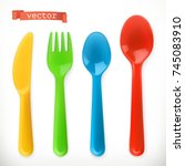 plastic cutlery. kids food. 3d... | Shutterstock .eps vector #745083910