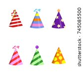 party hat cone with white... | Shutterstock .eps vector #745085500
