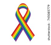 rainbow ribbon. lgbt support... | Shutterstock .eps vector #745085779