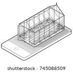 outlined vector isometric... | Shutterstock .eps vector #745088509