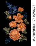 vector embroidery with floral... | Shutterstock .eps vector #745090174