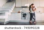 full length image of romantic... | Shutterstock . vector #745090228