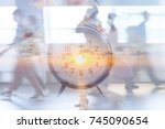 time to work  motion blur... | Shutterstock . vector #745090654