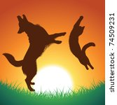 Stock vector cat and dog jumping silhouettes pets and background can be used separately vector 74509231