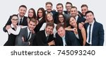 large group of excited business ... | Shutterstock . vector #745093240