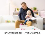 busy father working with...   Shutterstock . vector #745093966