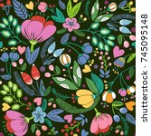 beautiful floral seamless... | Shutterstock .eps vector #745095148