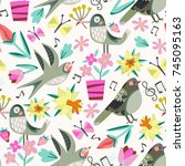 vector floral pattern. seamless ... | Shutterstock .eps vector #745095163