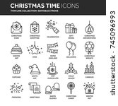 christmas and new year. winter... | Shutterstock .eps vector #745096993