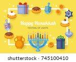 hanukkah banner design. menorah ... | Shutterstock .eps vector #745100410