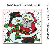 santa hugs snowman. season's... | Shutterstock .eps vector #745100914