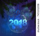 christmas glass ball with... | Shutterstock .eps vector #745101058