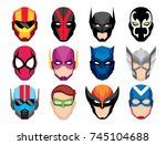 vector cartoon hero masks... | Shutterstock .eps vector #745104688