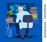 scientist biologist working on... | Shutterstock .eps vector #745105234