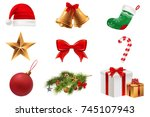 christmas symbols set. colorful ... | Shutterstock .eps vector #745107943