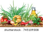 aromatic spices and herbs with... | Shutterstock .eps vector #745109308