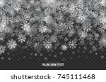 vector falling snow effect with ... | Shutterstock .eps vector #745111468