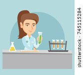 young caucasian laboratory... | Shutterstock .eps vector #745115284