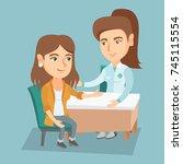 caucasian therapist doctor... | Shutterstock .eps vector #745115554