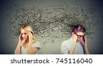 side profile of preoccupied... | Shutterstock . vector #745116040