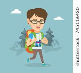 young caucasian backpacker with ... | Shutterstock .eps vector #745116430