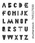 abc   latin alphabet. unique... | Shutterstock .eps vector #745117030