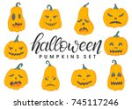 set of halloween pumpkins with... | Shutterstock .eps vector #745117246
