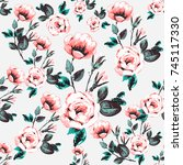 vintage traditional roses... | Shutterstock .eps vector #745117330