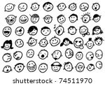 doodled funny stick figure faces | Shutterstock .eps vector #74511970