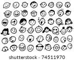 doodled funny stick figure faces   Shutterstock .eps vector #74511970