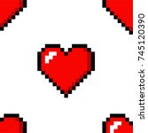 pixel heart love seamless... | Shutterstock . vector #745120390