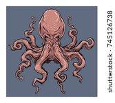 angry octopus. vector... | Shutterstock .eps vector #745126738