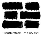 set of six black ink brush... | Shutterstock .eps vector #745127554