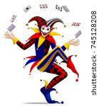 joker with playing cards on... | Shutterstock .eps vector #745128208