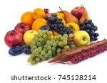 fresh fruits isolated on a... | Shutterstock . vector #745128214