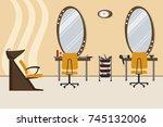 interior of a hairdressing...   Shutterstock .eps vector #745132006