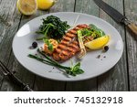 delicious grilled salmon fish... | Shutterstock . vector #745132918