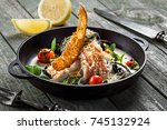 seafood meal made of sea bass... | Shutterstock . vector #745132924