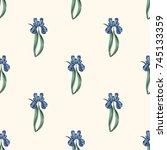 seamless retro 1940s pattern in ... | Shutterstock .eps vector #745133359