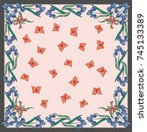 retro flower square composition....   Shutterstock .eps vector #745133389