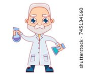 old man scientist holding a... | Shutterstock .eps vector #745134160