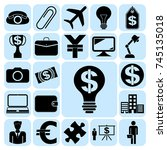 set of 22 business high quality ... | Shutterstock .eps vector #745135018